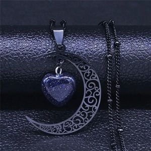 Black Crescent Moon Heart Necklace